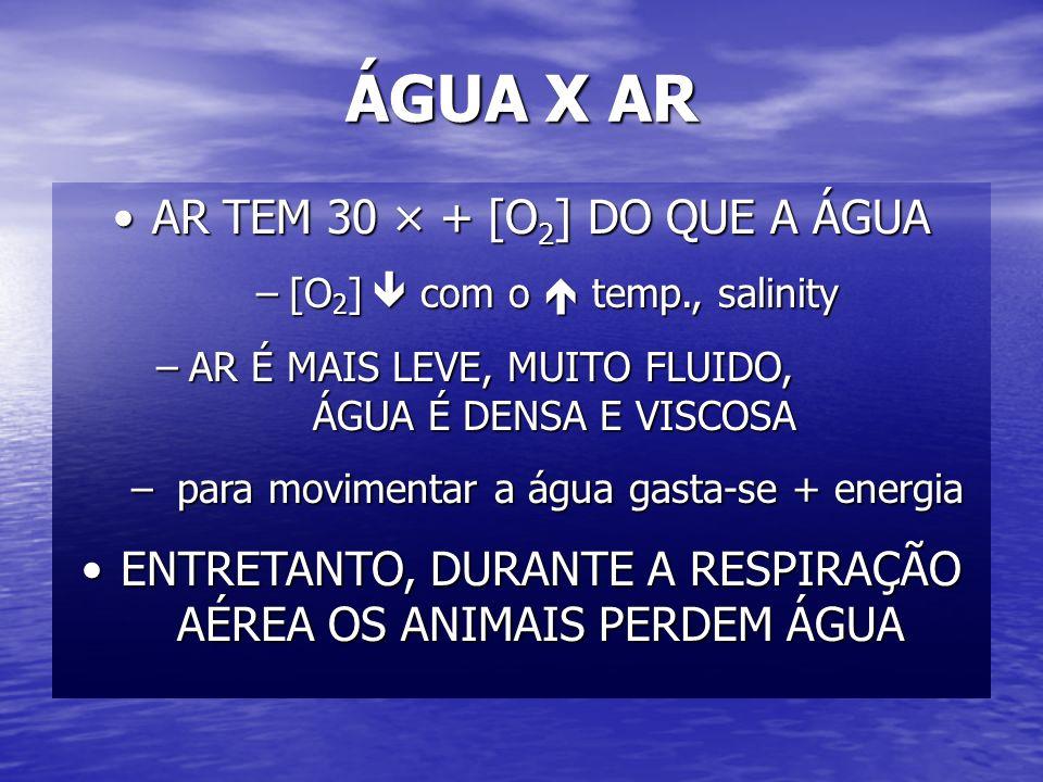 ÁGUA X AR AR TEM 30 × + [O2] DO QUE A ÁGUA